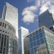 Canary Wharf skyscrapers in London - Stock Photo