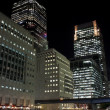 Royalty-Free Stock Photo: Canary Wharf skyscrapers in London at night