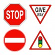 Warning and prohibition traffic signs — Stock Photo