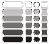 Metallic buttons in shades from white to black — Stock Photo