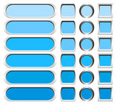 Metallic buttons in shades of blue — Stock Photo