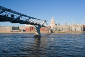 Millennium Bridge and St Paul Cathedral — Stock Photo