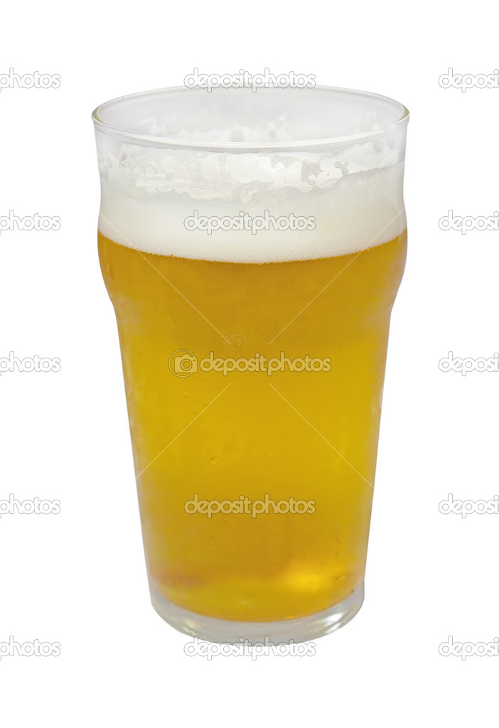 A full pint of beer isolated on white — Stock Photo #2351381