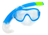 Swimming mask and snorkel on white — Stock Photo