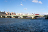 Westminster bridge and bus in London — Stock Photo