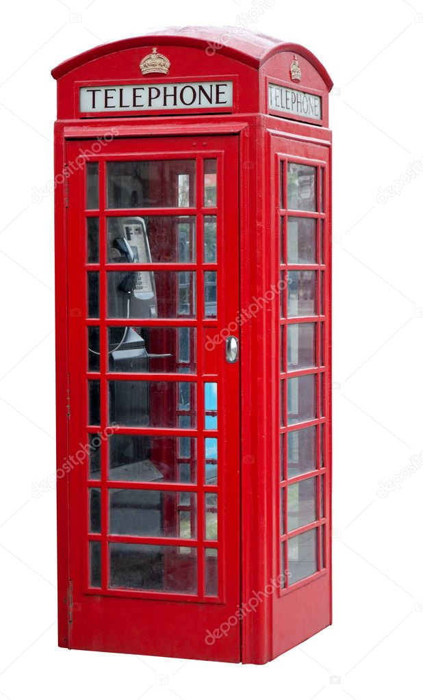 Red telephone booth in London isolated on white with clipping path — Stock Photo #2366568