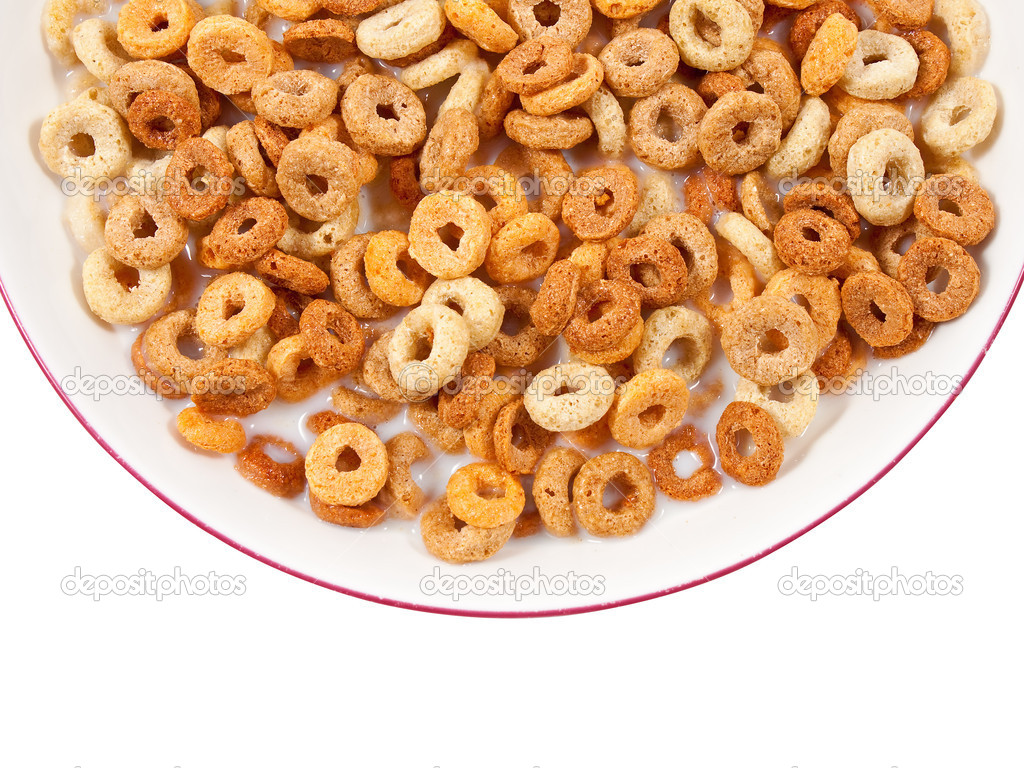 Bowl of healthy breakfast cereals isolated on white with clipping path  Stock Photo #2367787