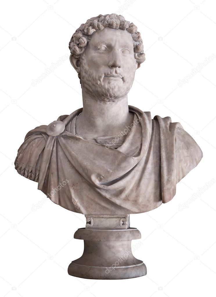 Ancient marble bust of the roman emperor Hadrian isolated on white with clipping path — Stock Photo #2471963