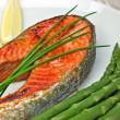 Sockeye salmon steak dinner -  