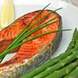 Sockeye salmon steak dinner - Stock Photo