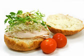 Turkey kaiser sandwich — Stock Photo