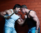 Two muscular angry guys — Stock Photo