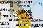 Seoul on a map — Stockfoto
