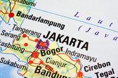 Jakarta on a map — Stock Photo