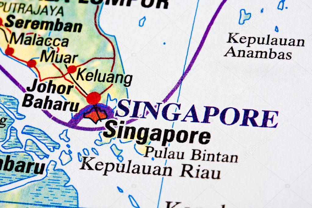 新加坡在地图上 — 照片作者