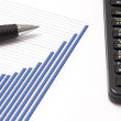 Business graph and a pen — Stock Photo