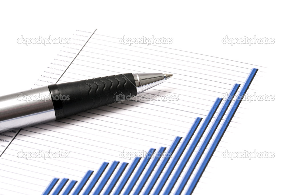 Business graph and a pen — Stock Photo #2557848