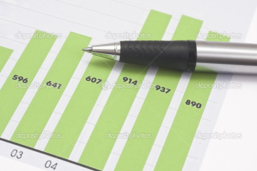 Business graph and a pen  Stock Photo #2557995
