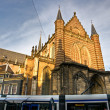 Royalty-Free Stock Photo: Amsterdam, Tram and Church near Dam Square