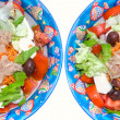 Mix salad with mozzarella, tuna and olives — Stock Photo