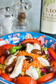 Mix salad with mozzarella and olives — Stock Photo