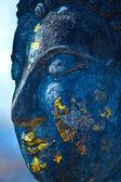 Buddha face, Sukhothai, Thailand. Blue. — Stock Photo