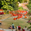 Monks praying under the bodhy-tree, Bodhgaya, In - Stockfoto