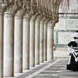 Stock Photo: Mask and columns, Saint marco square, Venice.