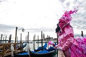 Máscara rosa, venecia. — Foto de Stock