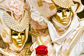 Golden mask with Red rose. — Stock Photo