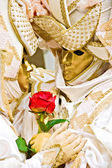 Two golden mask in Venice, Italy. — Stock Photo