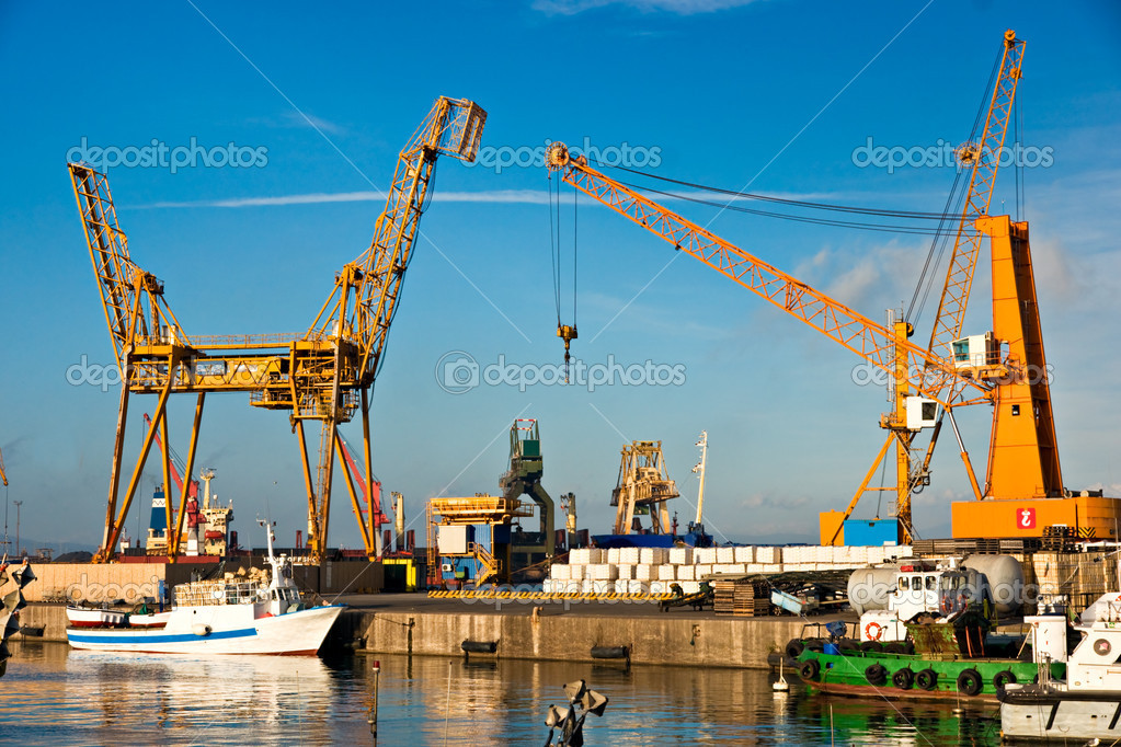 Piombino Italy  city photos : Crane in Piombino, Italy. — Stock Photo © masterlu #2450005
