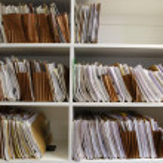 File Folders on Shelf — Stock Photo
