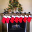 Christmas Stockings and Fireplace — 图库照片