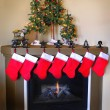 Christmas Stockings and Fireplace — Stockfoto