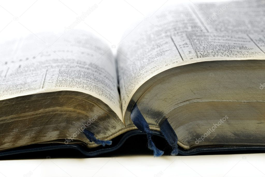 Open pages of bible isolated on white background — Stock Photo #2343284