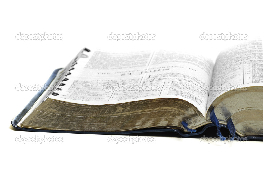 Open pages of bible isolated on white background — Foto Stock #2344480