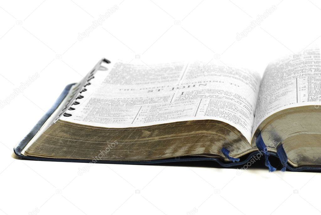 Open pages of bible isolated on white background  Foto Stock #2344480