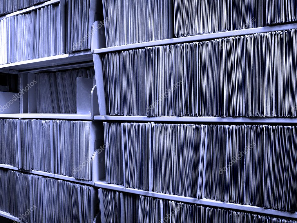 Shelf full of folders and files in an office — Stock Photo #2507326
