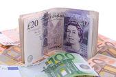 英镑和欧元 — 图库照片