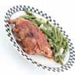 Ribs with green beans - Stock Photo