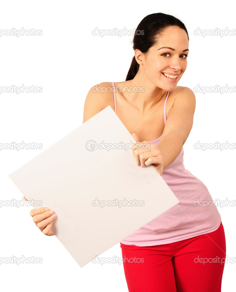 Happy young woman holding blank advertisement placard — Foto Stock #2455913