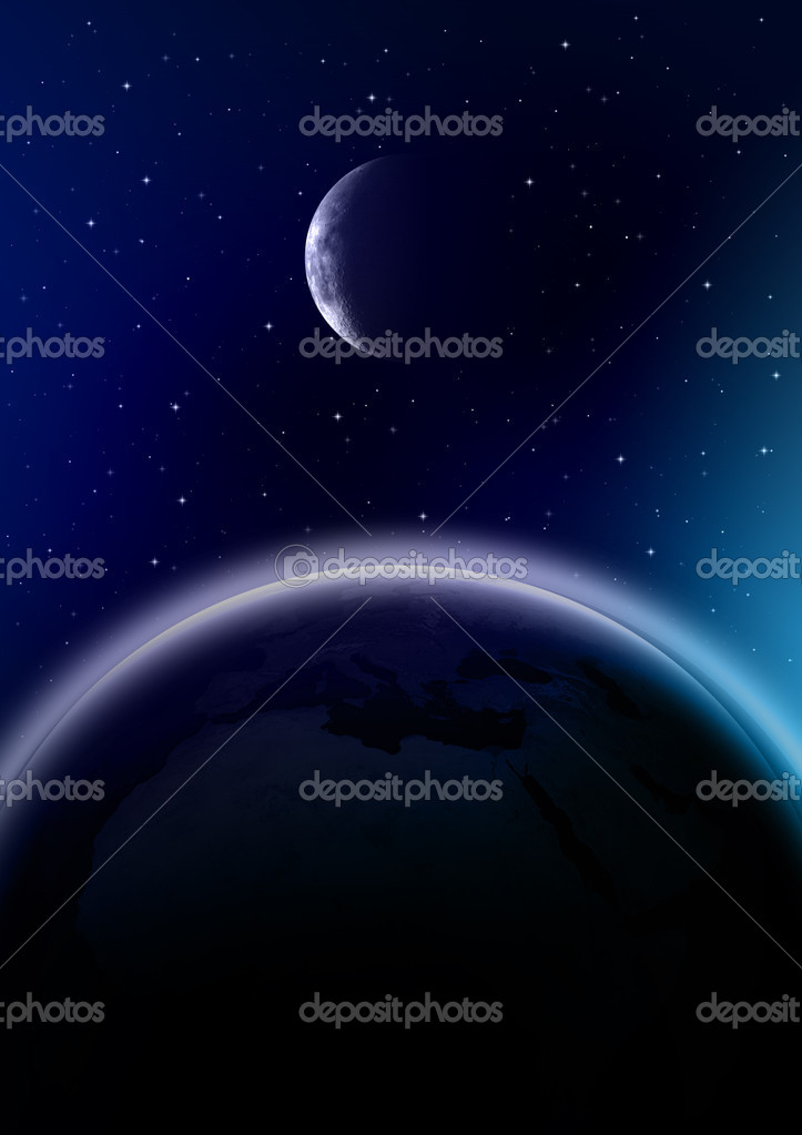 Outer space illustration with earth and moon. — Stock Photo #2285670