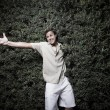 Man and a maneating bush — Stock Photo #2331209