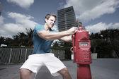 Muž uzavírací ventil — Stock fotografie