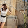 Stock Photo: Woman by scaffolding
