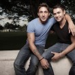 Foto Stock: Happy young gay men