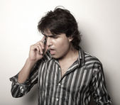 Angry man on the phone — Stock Photo