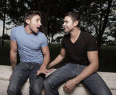 Two gay men gossiping — Stock Photo