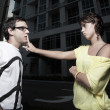 Woman quieting her boyfriend — Stock Photo